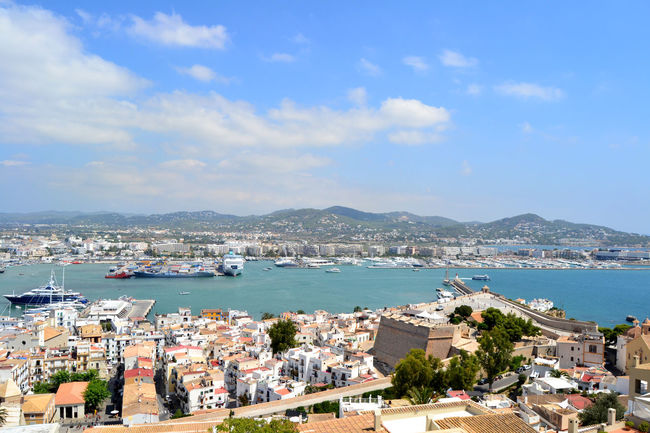View of Ibiza in Spain from Dalt Vila Balearic Balearic Islands Boat City Cityscape Cloud - Sky Dalt Vila Harbor Ibiza Illes Balears Island Islas Baleares Landscape Mediterranean  Nautical Vessel Outdoors Picturesque Sailboat Scenic Sea SPAIN Tourism Touristic Travel Water