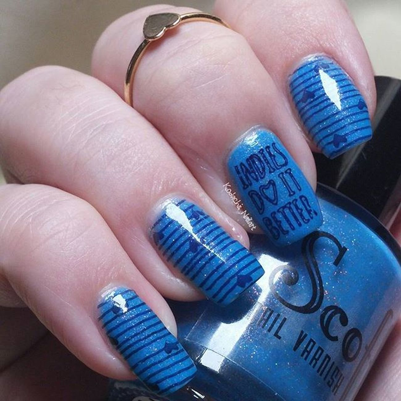 Late again - day 5 - Blue 31dc2015 : Subterranean Homesick alien by @scofflawvarnish stamped with @uberchicbeauty plates and @essiedeutschland - after school boy blazer Scofflawvarnish Uberchicbeauty Essie Itrustindiepolish