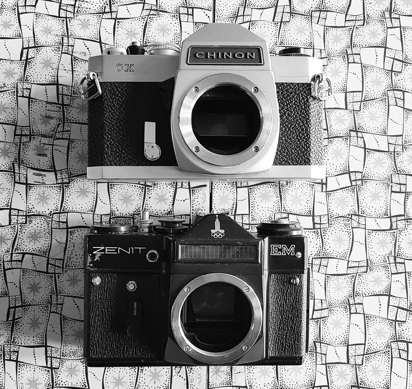 Machinery Appliance Camera Vintage Vintage Camera Vintage Photo Vintage Cameras Cameras Of EyeEm Black And White Zenit-E Zenit Russian Camera Chinon Monochrome Old School Film Camera Lomography Japanese Camera SLR SLR Camera Composition No People Day Photography Still Life