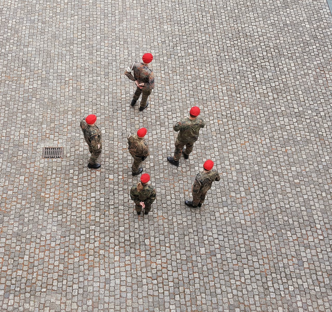 R.E.D. Adult Adults Only AntiM Business Businessman Cooperation Coworker Day Directly Above Full Length Group Of People High Angle View Large Group Of People Men Military Police Only Men Outdoors People Red Red And Grey Strategy Teamwork Togetherness Young Adult