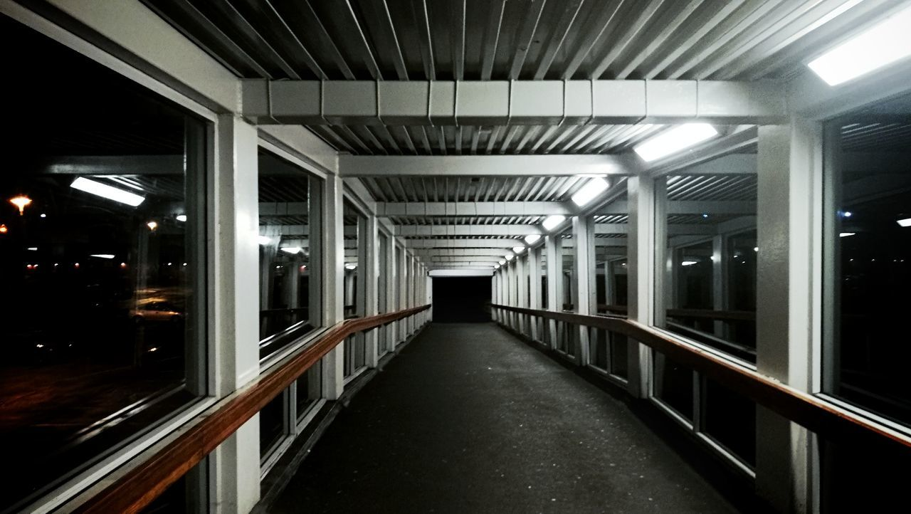 The Way Forward Built Structure Indoors  Illuminated Architecture No People Square Arch Windows Steel Night Sheltered Footpath Walkway Bridge Path Tunnel Spooky Creepy Atmospheric Tarmac Vanishing Point Darkness Cold