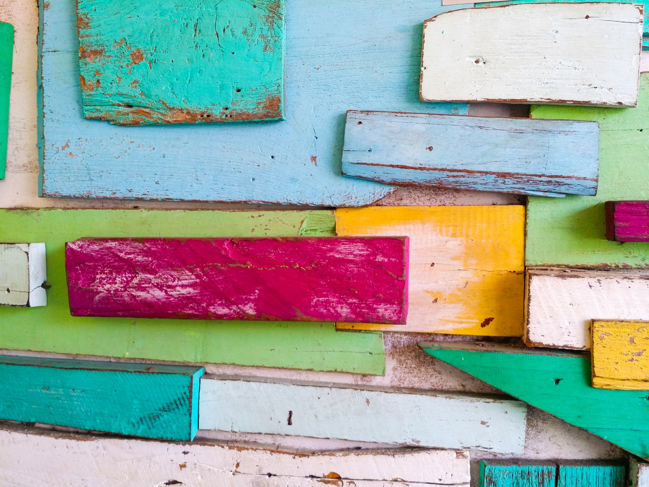 Colorful wooden background. Multi Colored Wood - Material Backgrounds Variation Green Color Paint No People Built Structure Day Outdoors Architecture Close-up Textures Surface Art Design Decor Decoration Decorative Yellow Color Red Color Decoracion Blue Color Wall Wall Art