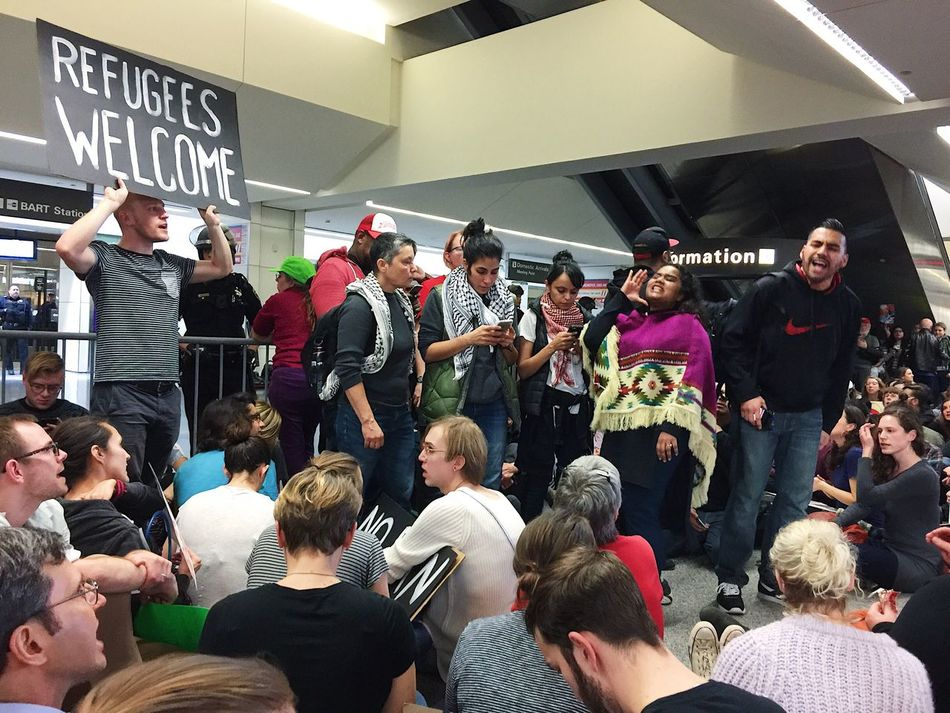 No ban, no wall protest at San Francisco International Airport on January 29, 2017. Large Group Of People Crowd Young Women Group Of People Indoors  People Protesters Airport San Francisco California First Eyeem Photo Refugees Immigration Immigrants
