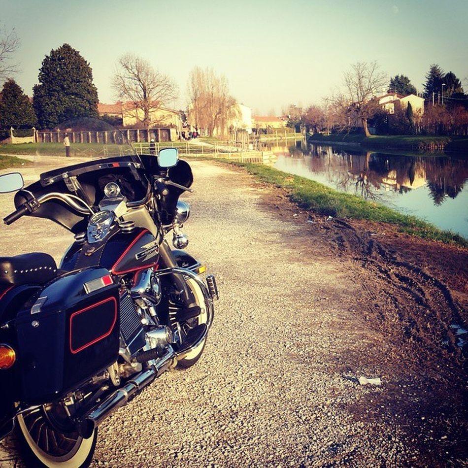 Primo giretto dell'anno 2015! 2°c! Riviera del Brenta. ...Firstrun2015 Harley Flh Vintage harleydavidsonshovelhead1980venicerivierevenice