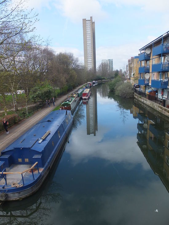 Listed Building Trellick Tower reflection in Regents Canal Architecture Blue Sky White Clouds Building Exterior Built Structure Canal Canal Boats Capital City Cat Composition Full Frame GB London Modern No People Outdoor Photography Reflection Reflections In The Water Regents Canal Skyscraper Sunlight And Shadow Tourist Attraction  Tree Trellick Tower Uk Water