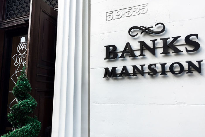 Banks Green Sign Architecture Building Exterior Close-up Door Luxury Mansion Text White