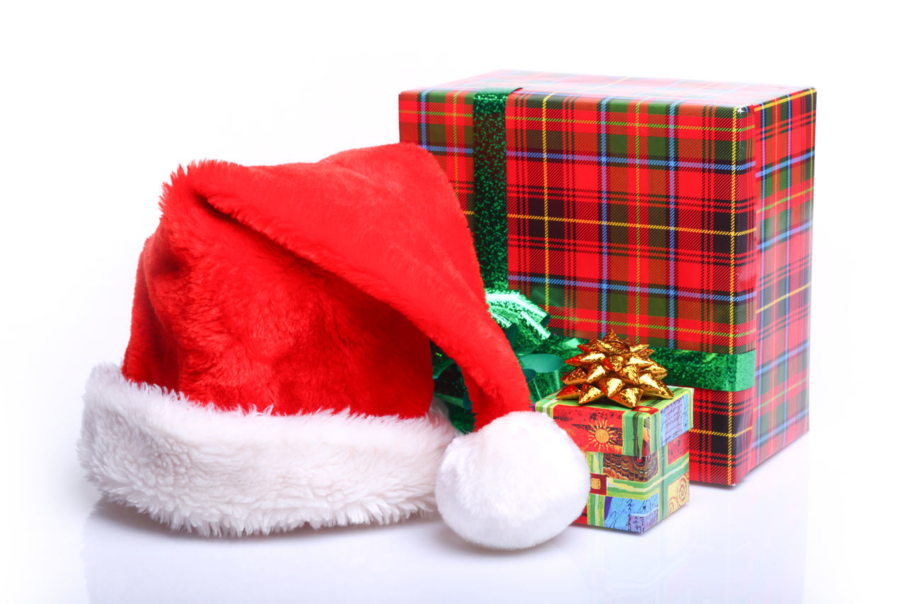Color red with green gift boxes for every holliday Box Christmas Christmas Claus Gift Gifts Hat Holiday - Event Holliday New Year No People Red Red Santa Santa Claus Textile White Background