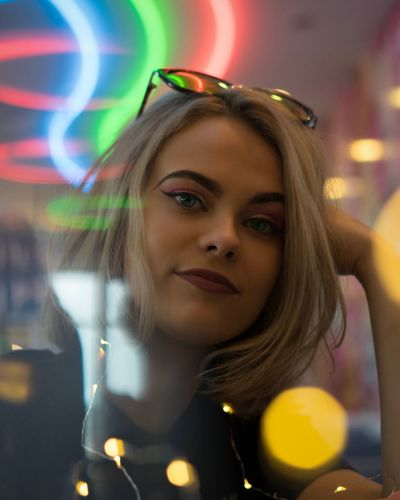 One Person Real People Night Leisure Activity Young Adult Portrait Looking At Camera Beautiful Woman Lifestyles Headshot Happiness Illuminated Bubble Wand Young Women Close-up Blond Hair Outdoors People