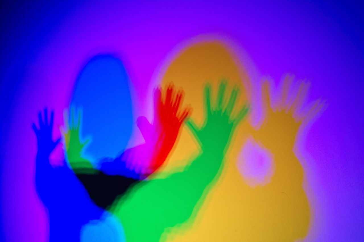 Abstract Conceptual Colorful Separeted Mind Ilustration Teenager Problems Splinters Of Reality Shadows & Lights Shadow Love Girl Friends Psihology People Coloured Shadows Nostalgic  Indoors  One Person Multi Colored Vibrant Color Focus On Foreground