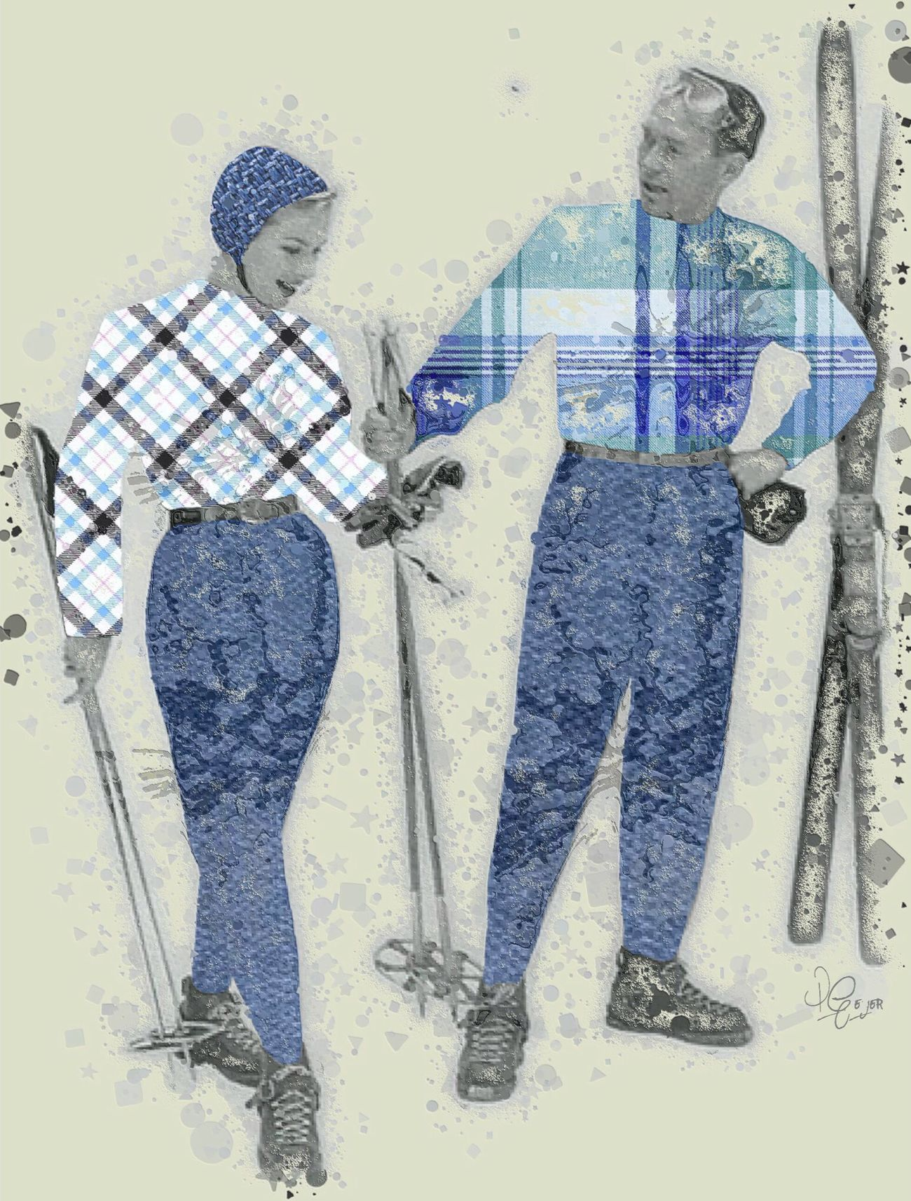I do not participate in any sport with ambulances at the bottom of the hill. ~Erma Bombeck Vintage NEM Submissions Digital Art My Art NEM Abstracts Digital Collage Skiing