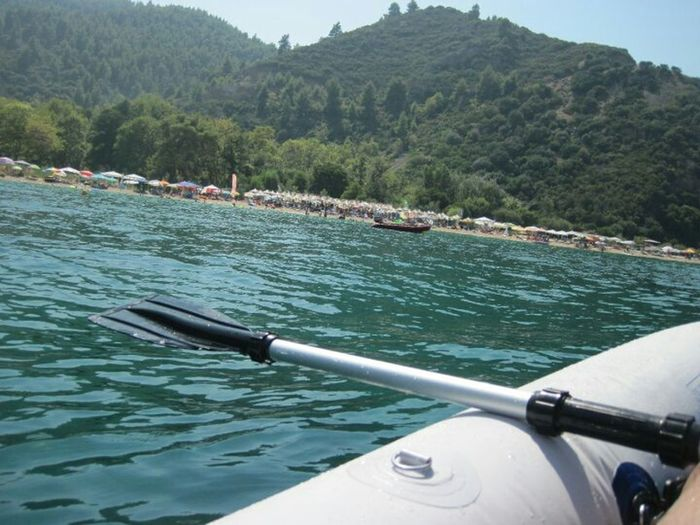 Canoeing Summer Sports Vacation Open Sea Green Blue Water Mountain Green Trees