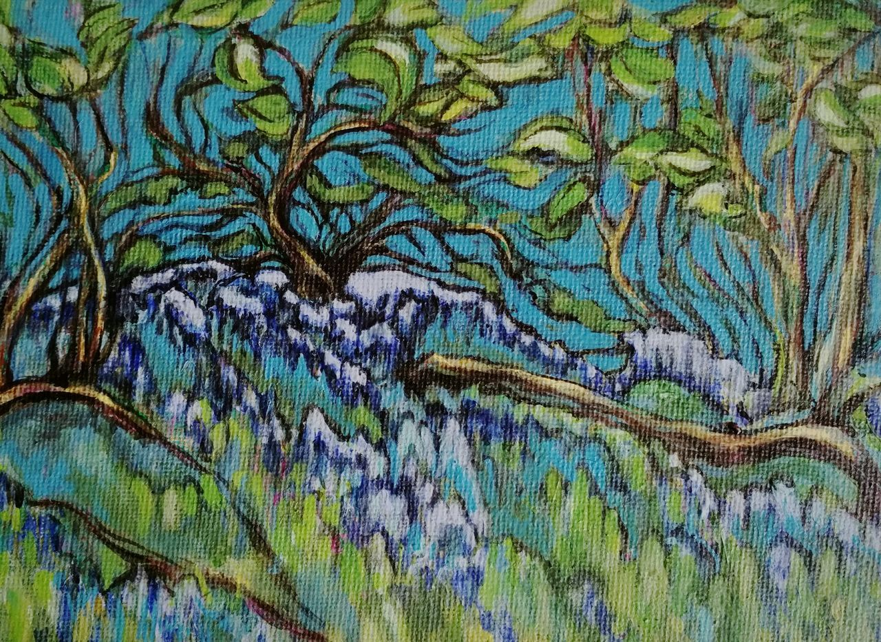 ... trying to put more thought and effort in my Work ... Painting Art ArtWork Acrylic Painting Painting In Progress Nature Outdoors Multi Colored Trees Blue Flowers Branches Spring Green My Art Creativity Work In Progress Business Day No People Backgrounds Canvas рисунок Arte Pintura