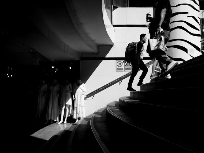 Real People Steps Staircase Steps And Staircases Low Angle View Two People Built Structure Nautical Vessel Architecture Day Outdoors Full Length Sky
