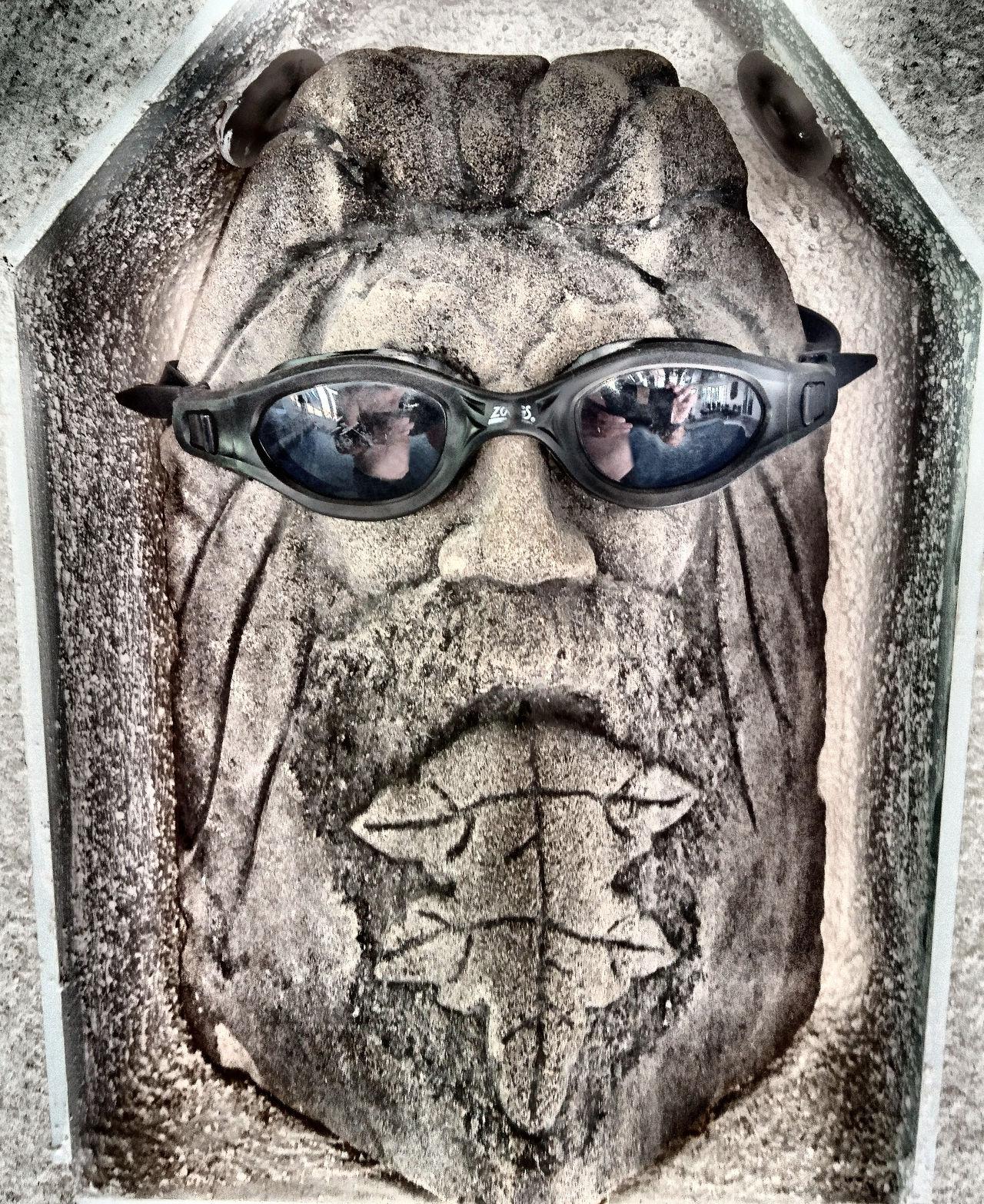 Deity Green Man Greenman Statue Stone Carving Surreal