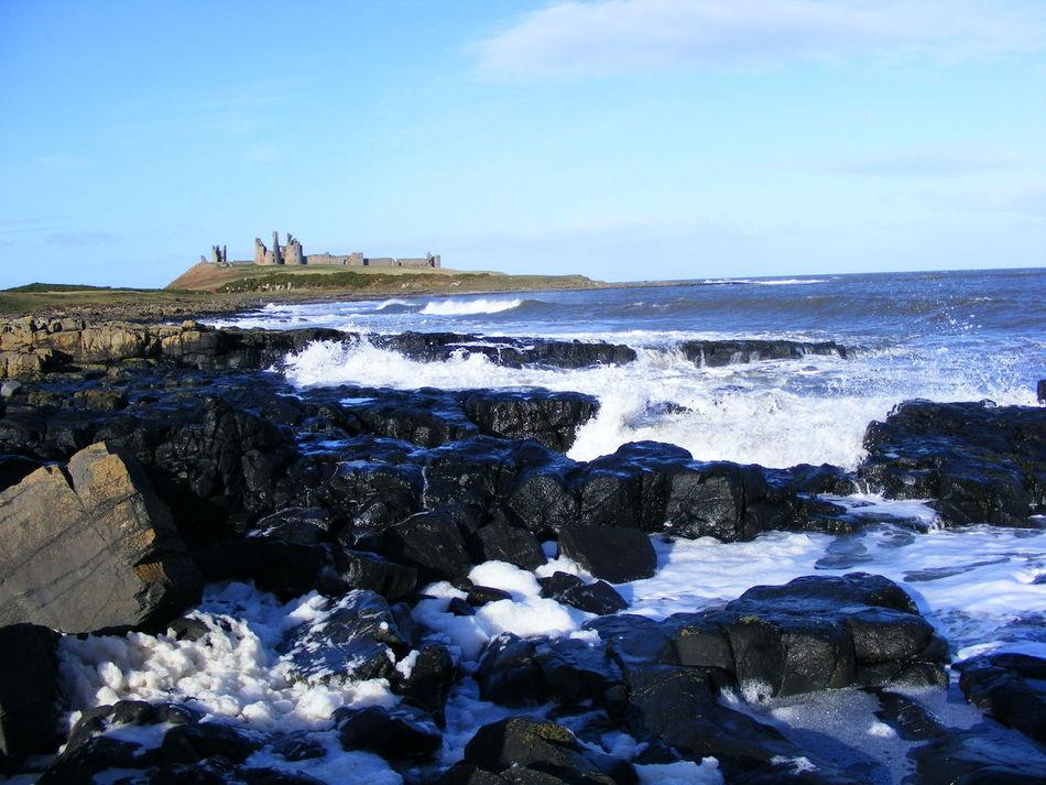 Dunstanburgh Idyllic Nature North East Coast Northumberland Coastline Rocks Rocks And Water Scenic Scenic View Sea Sea And Rocks Sky Tranquil Scene Tranquility Water Waves Waves And Rocks Waves Crashing Waves, Ocean, Nature