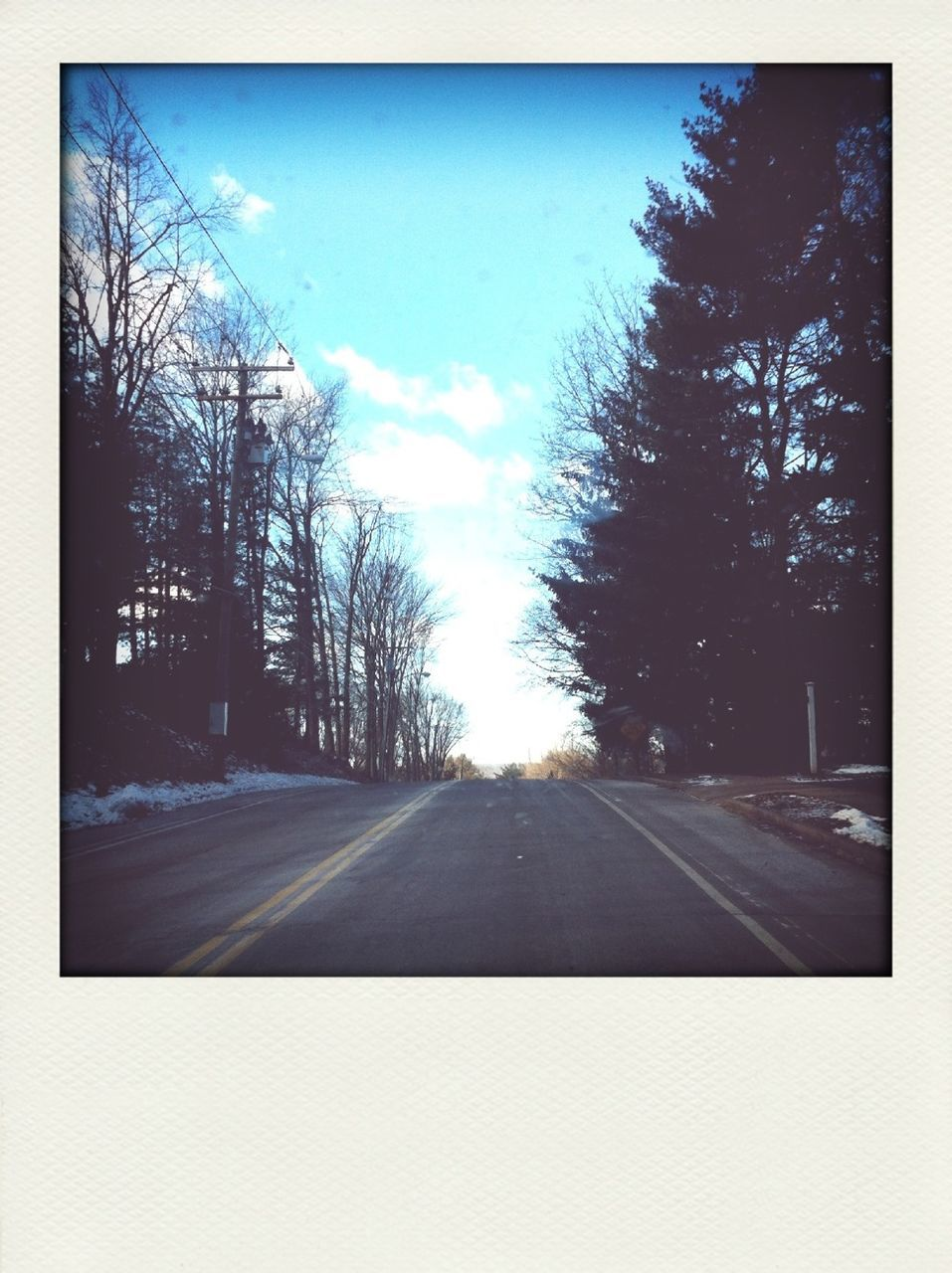 tree, road, transportation, bare tree, no people, day, sky, outdoors, nature, clear sky