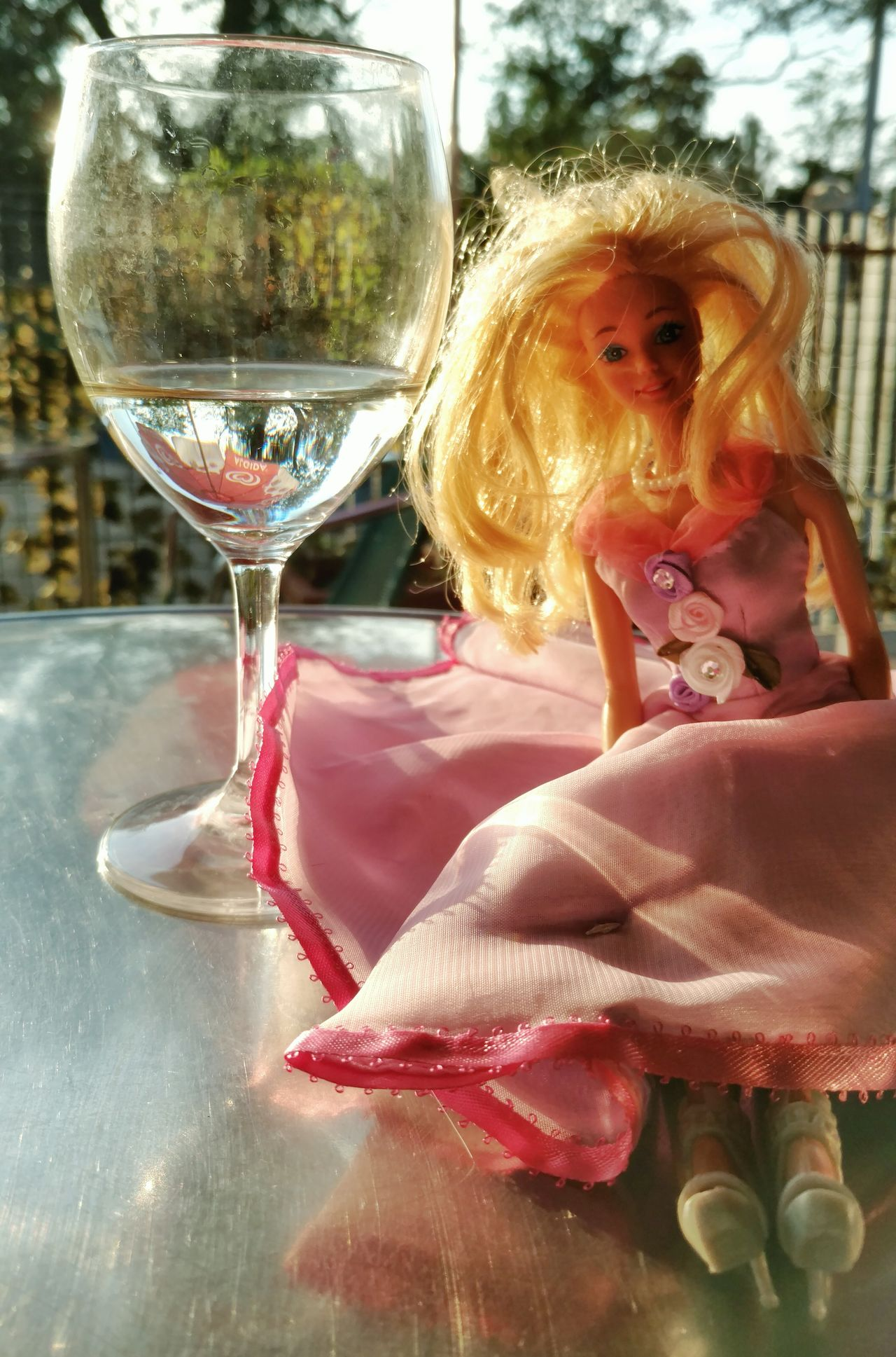 Barbie and wine spritz😊 Food And Drink Wineglass Drink Refreshment Wine Glass EyeEm Best Shots EyeEm Best Edits Motorola Mobile Photography Story Behind The Picture EyeEm Gallery Snapseed Barbie World Barbie Beauty Fashion Sunset Colors Storytelling