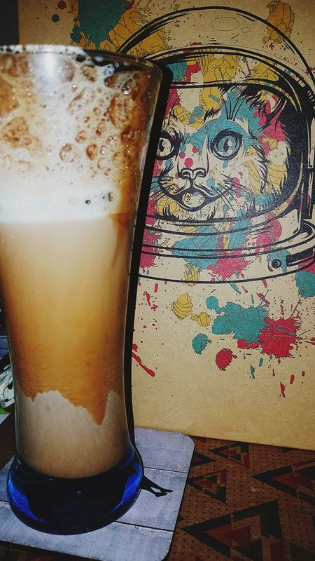 Drink No People Coolcoffeebar Ice Icedrink Milk Frappacino Cat Astronaut