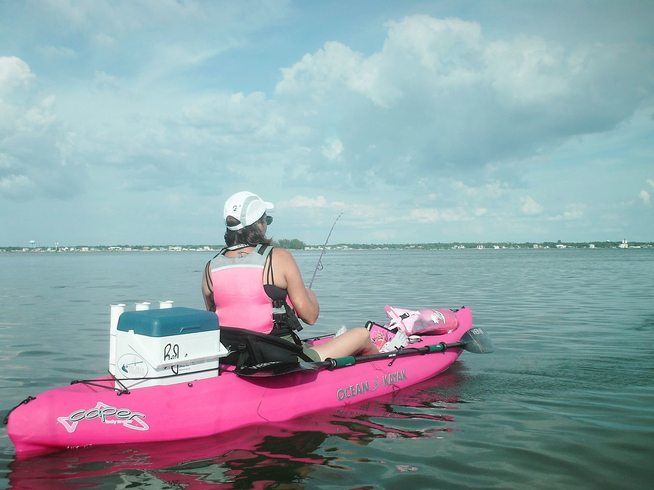 Florida Life Kayaker Fishing Sportswoman Kayak Fishing Pink Female Adult Weekend Activities Power Of Pink Kayaking Kayak Female Weekend Warrior Watersports Fisherman Weekend Warriors Florida Fishing People