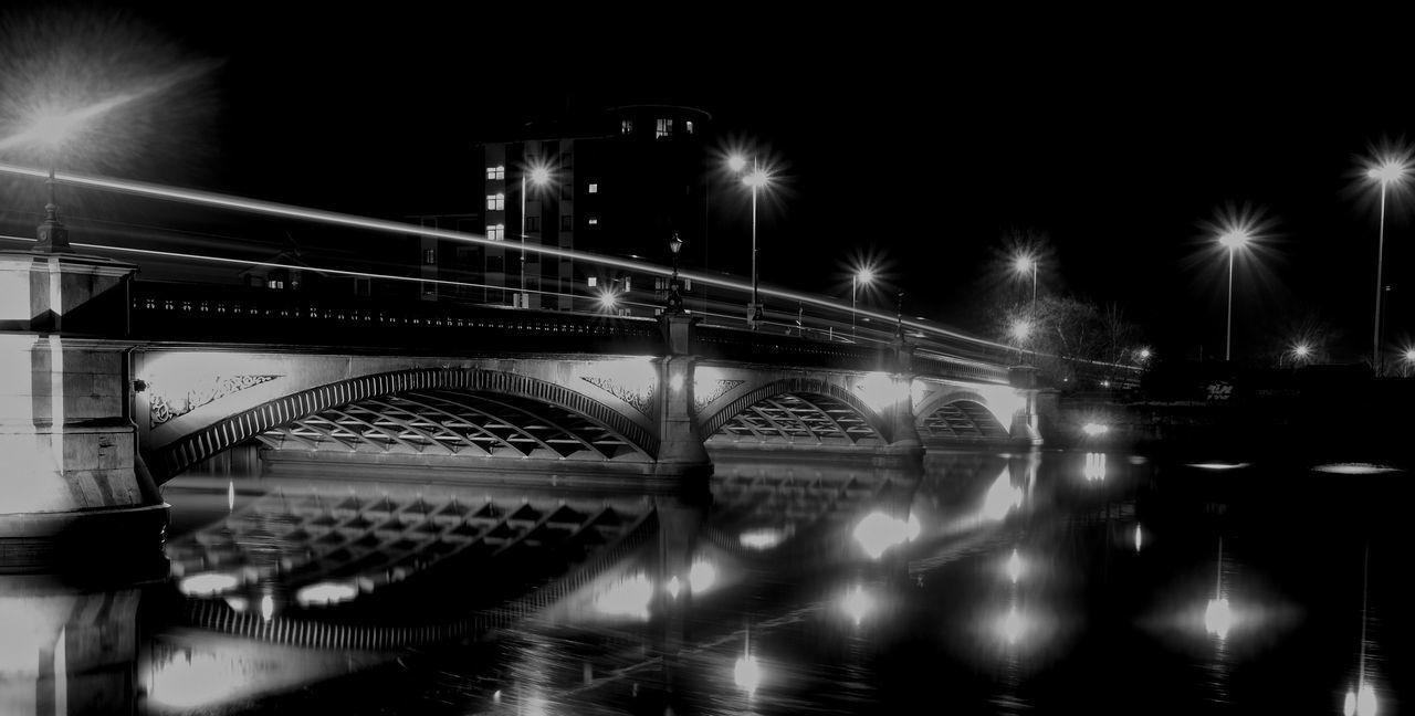 Architecture Blackandwhite Bridge - Man Made Structure Building Exterior Built Structure Connection FUJIFILM X-T10 Fujifilm_xseries Illuminated Long Exposure Myfujifilm Night No People Outdoors Reflection Sky Transportation Water Reflections