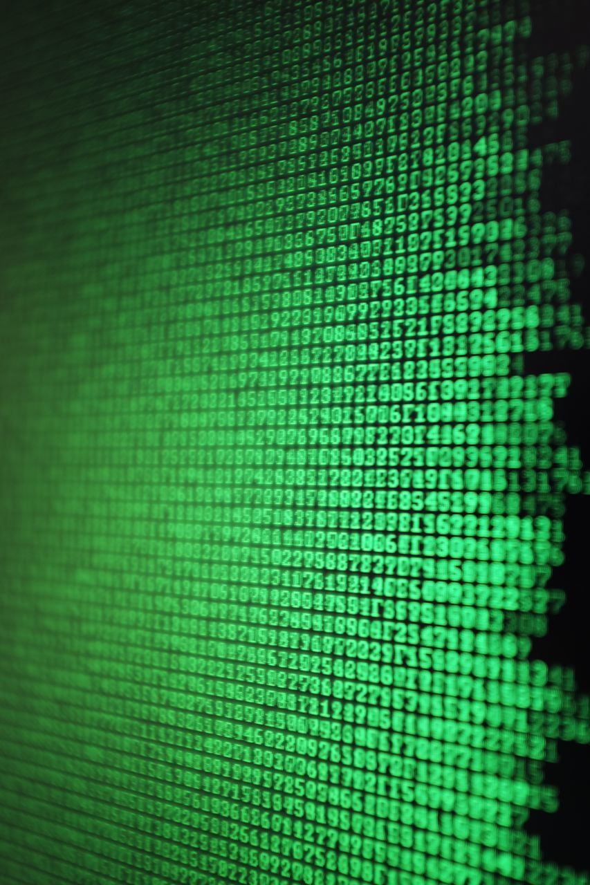 technology, cyberspace, data, computer monitor, backgrounds, green color, binary code, close-up, full frame, indoors, no people, internet, pixelated
