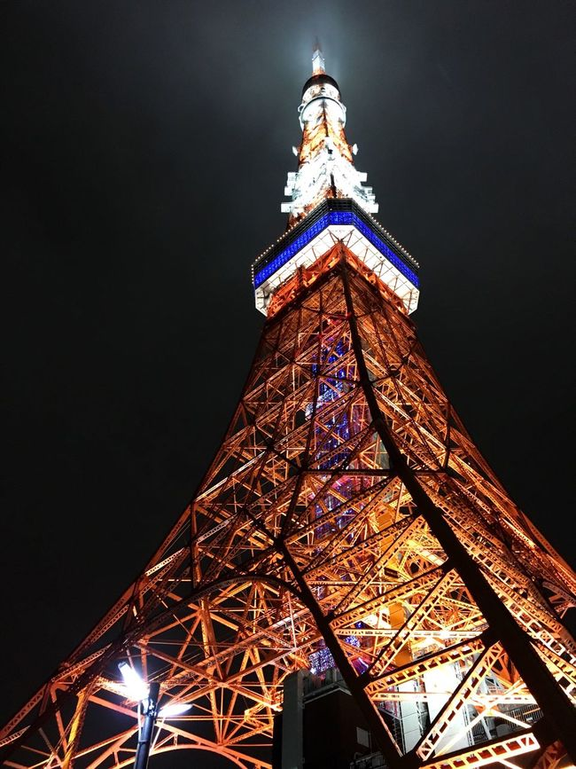 🗼 Human POV Low Angle View Tower Tall - High Architecture International Landmark Illuminated Night Famous Place Tokyo Tower City Sky 東京タワー 東京 Tokyo Japan 日本 도쿄 일본
