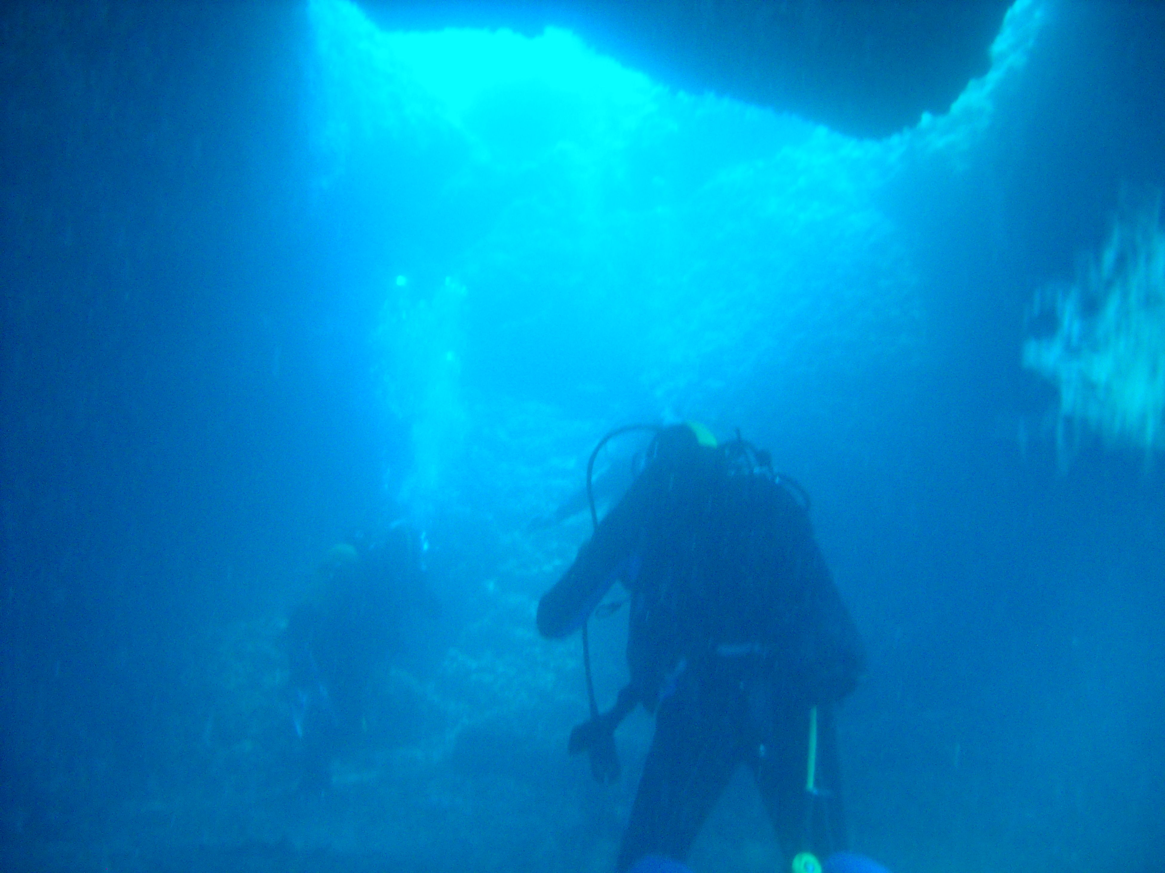 blue, underwater, leisure activity, lifestyles, illuminated, night, undersea, men, low angle view, swimming, silhouette, enjoyment, sky, arts culture and entertainment, light - natural phenomenon, fun, exploration, unrecognizable person, indoors