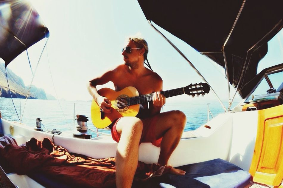 Beautiful stock photos of guitar, Acoustic Guitar, Boat, Caucasian Ethnicity, Day