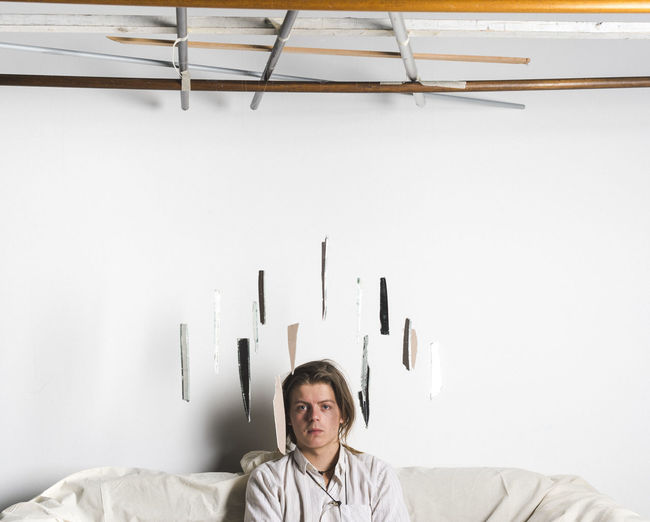 Glass Lifestyles Long Hair Men One Person Portrait Shards Sitting Studio Surreal