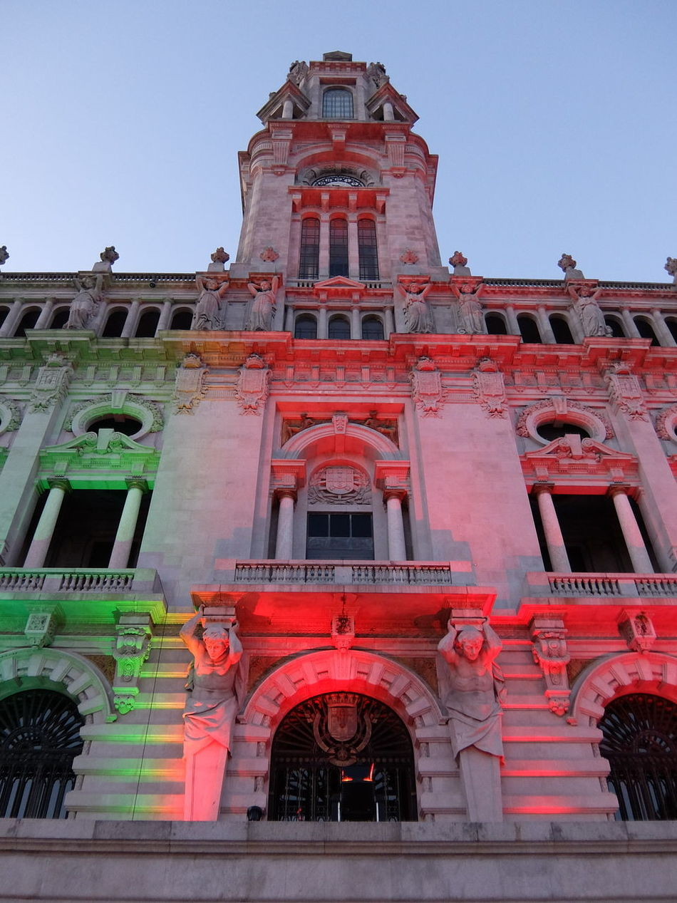 Euro 2016 Green & Red Porto Portugal Town Hall Colour Of Life