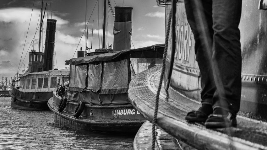 historical harbor Blackandwhite Boat Chimney Funnel Harbor Historical Low Section Mast Men Nautical Vessel One Person Ships Smokestack Water