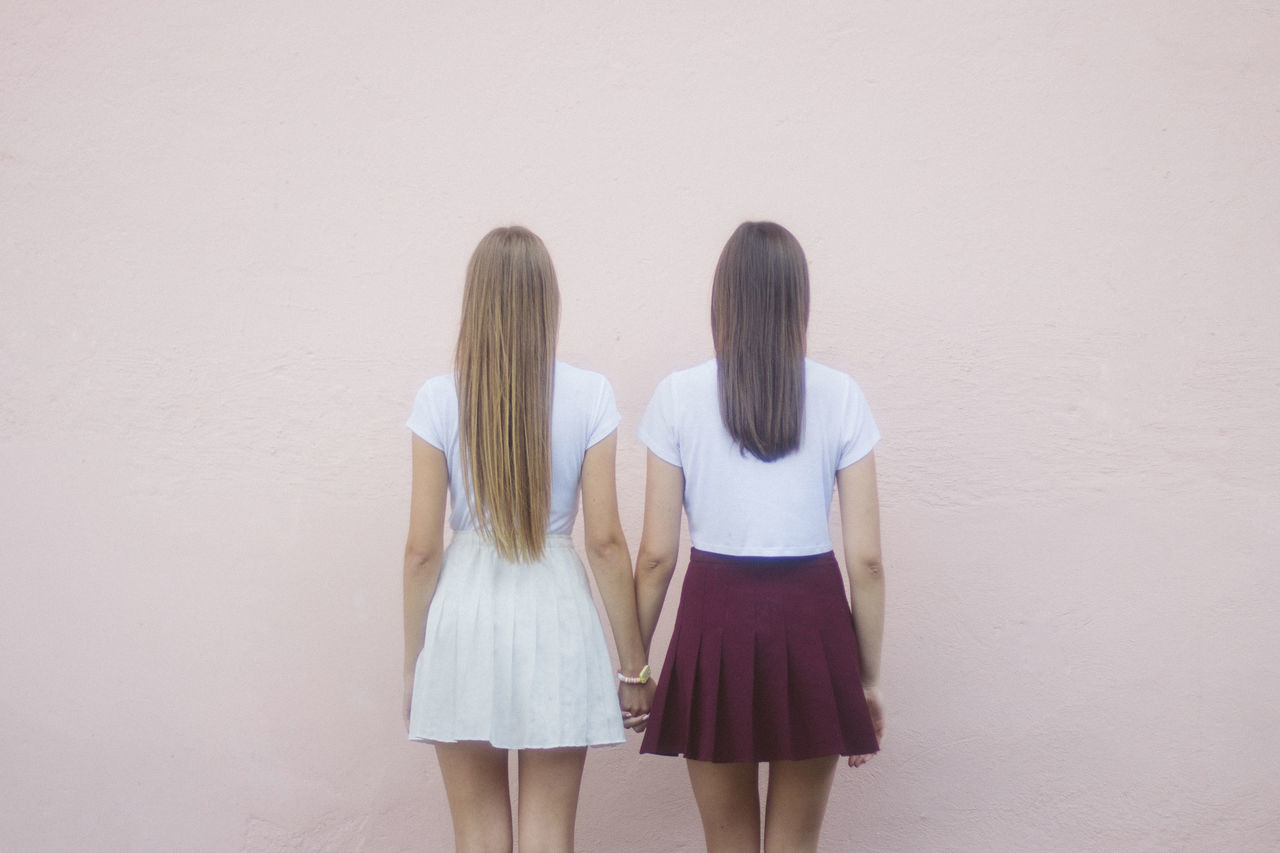 Couple Friends Friendship Friendship. ♡   Holding Hands Homosexual Couple Homosexual Love Lesbians Pink Pink Color Pink Colour Skirts Standing Straight Hair Teenager Togetherness Twin Twinning Twins Two People