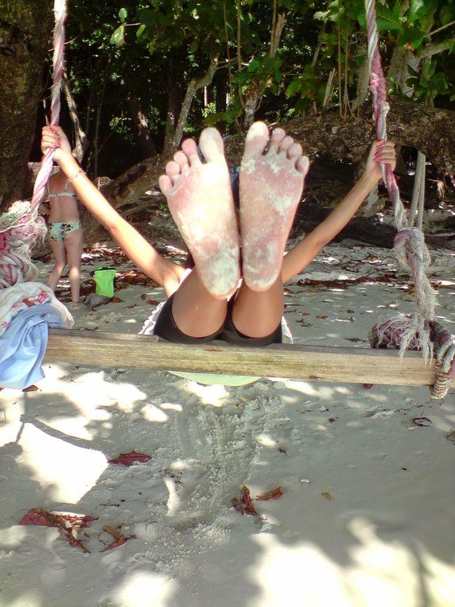 Showing Imperfection Feet Swinging Swing Beach Sandy Feet Hide Face