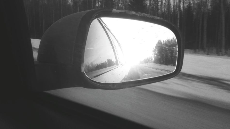 Sun in a mirror. Sun Mirror Car Snow Spring Time Reflection Carmirror PhonePhotography Blackandwhite Black And White Shadesofgrey Ontheroad Road Sunset
