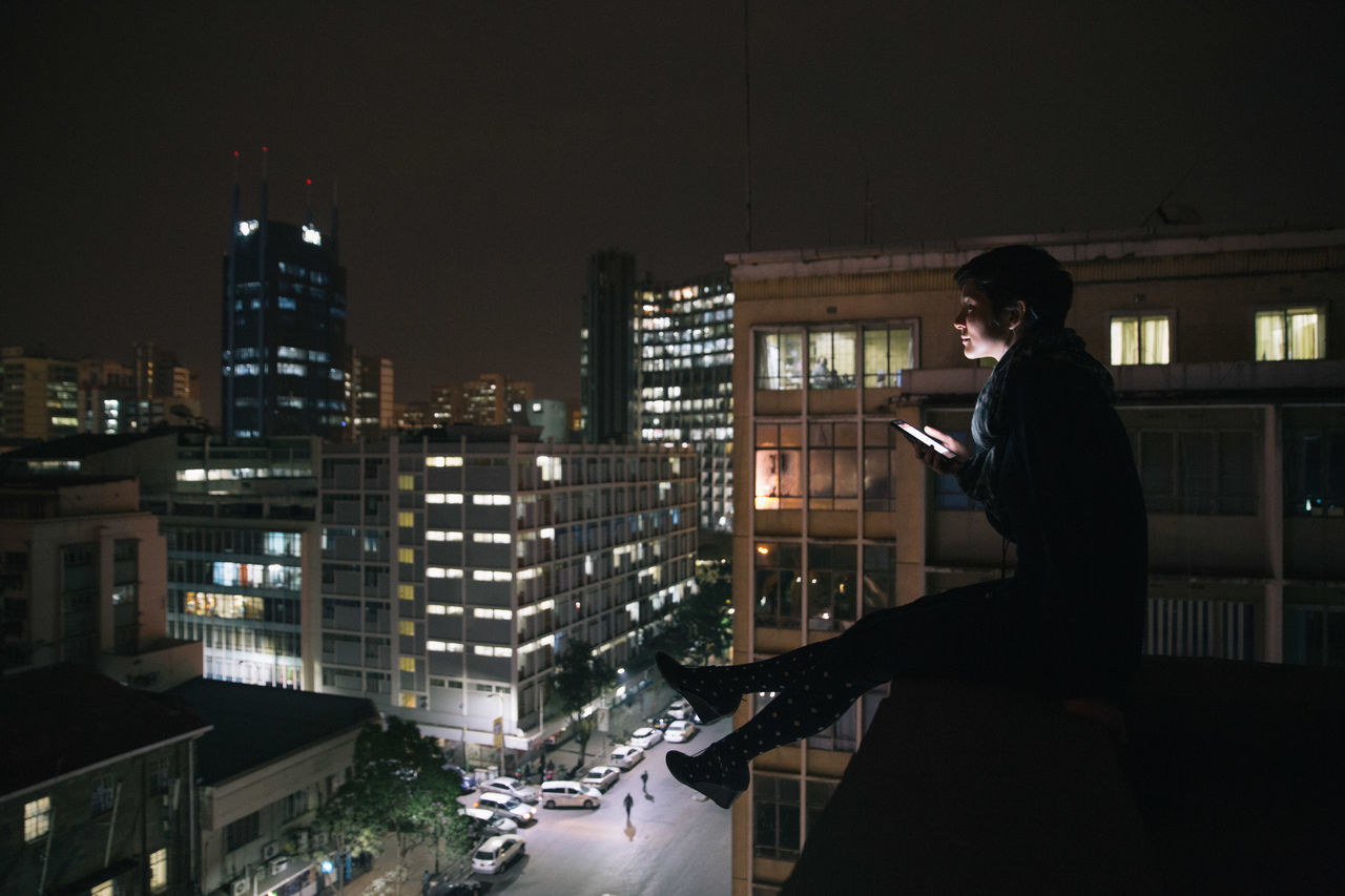 Rooftops in Nairobi with @stickylittleleaves Hanging Out Taking Photos Night Time Photography Architecture City Capital Cities  Arial View Adventure Club