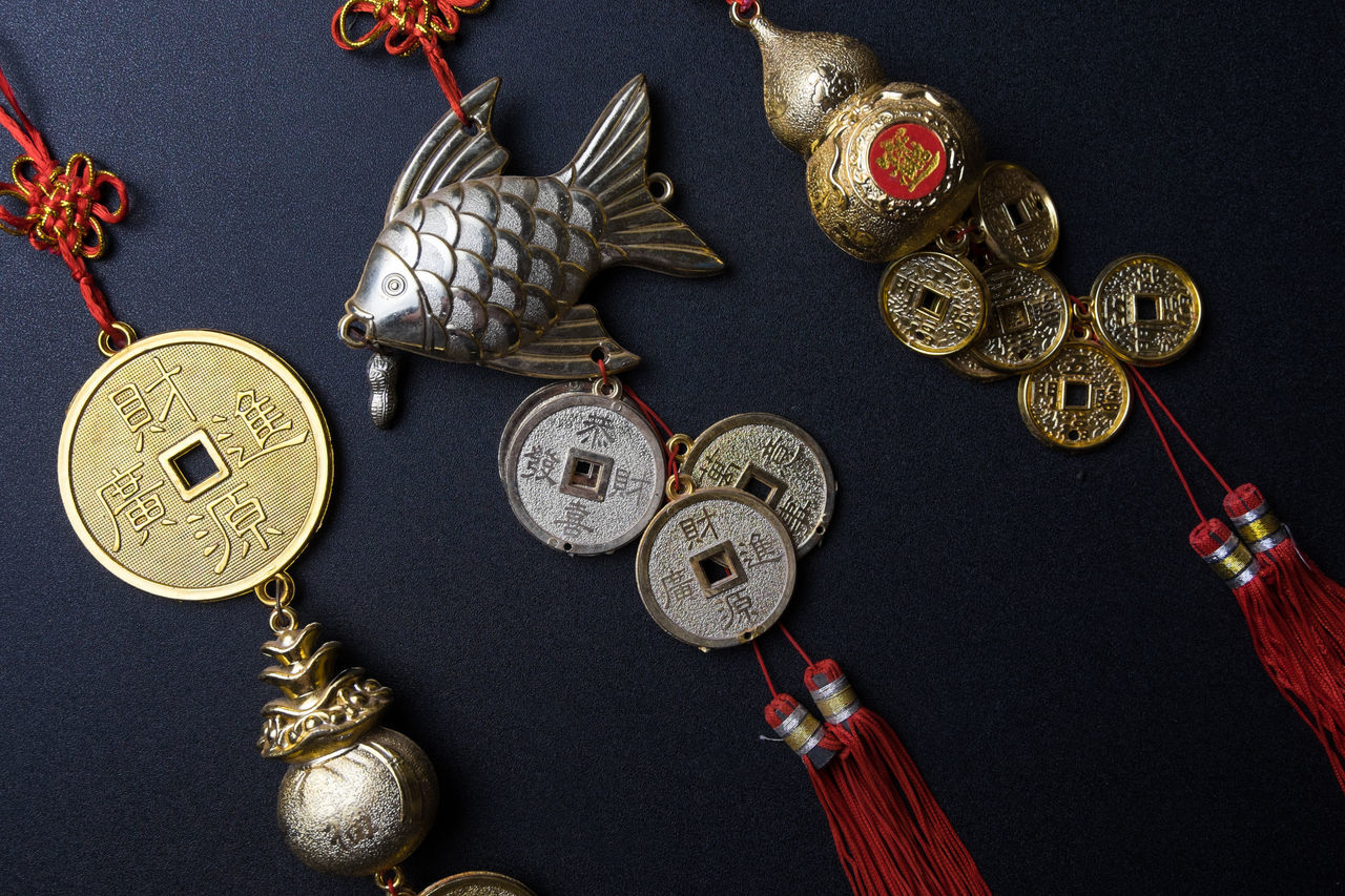 Black Background Charm Chinese Chinese Culture Chinese New Year Close-up Decoration Feng Shui Fortune Gold Goodness High Angle View Indoors  Lucky Medal Mobile No People Silver  Studio Shot Symbolic
