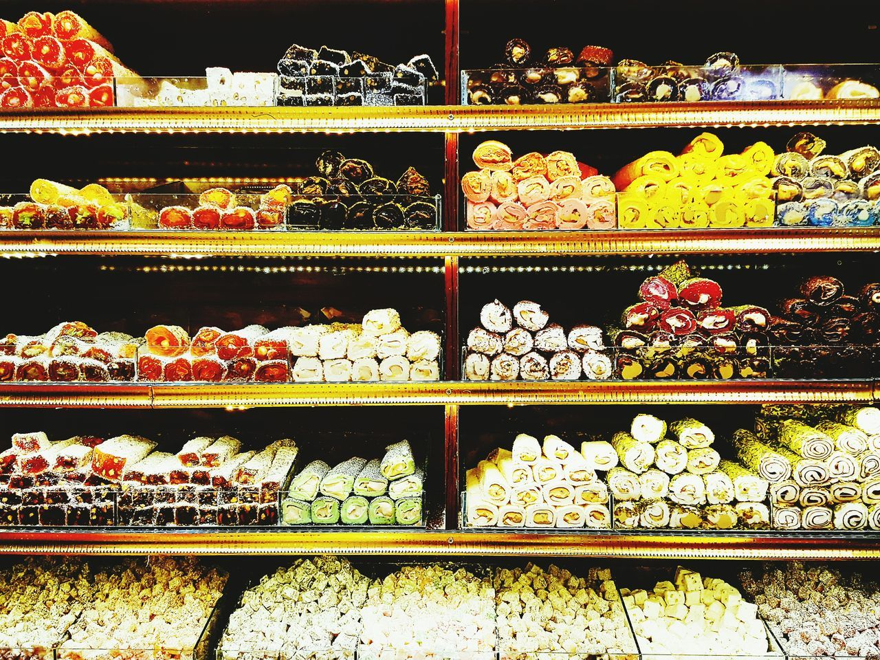 Beautifully Organized Shelf Bakery Variation Food Turkish Delight Freshness Indoors  Colors