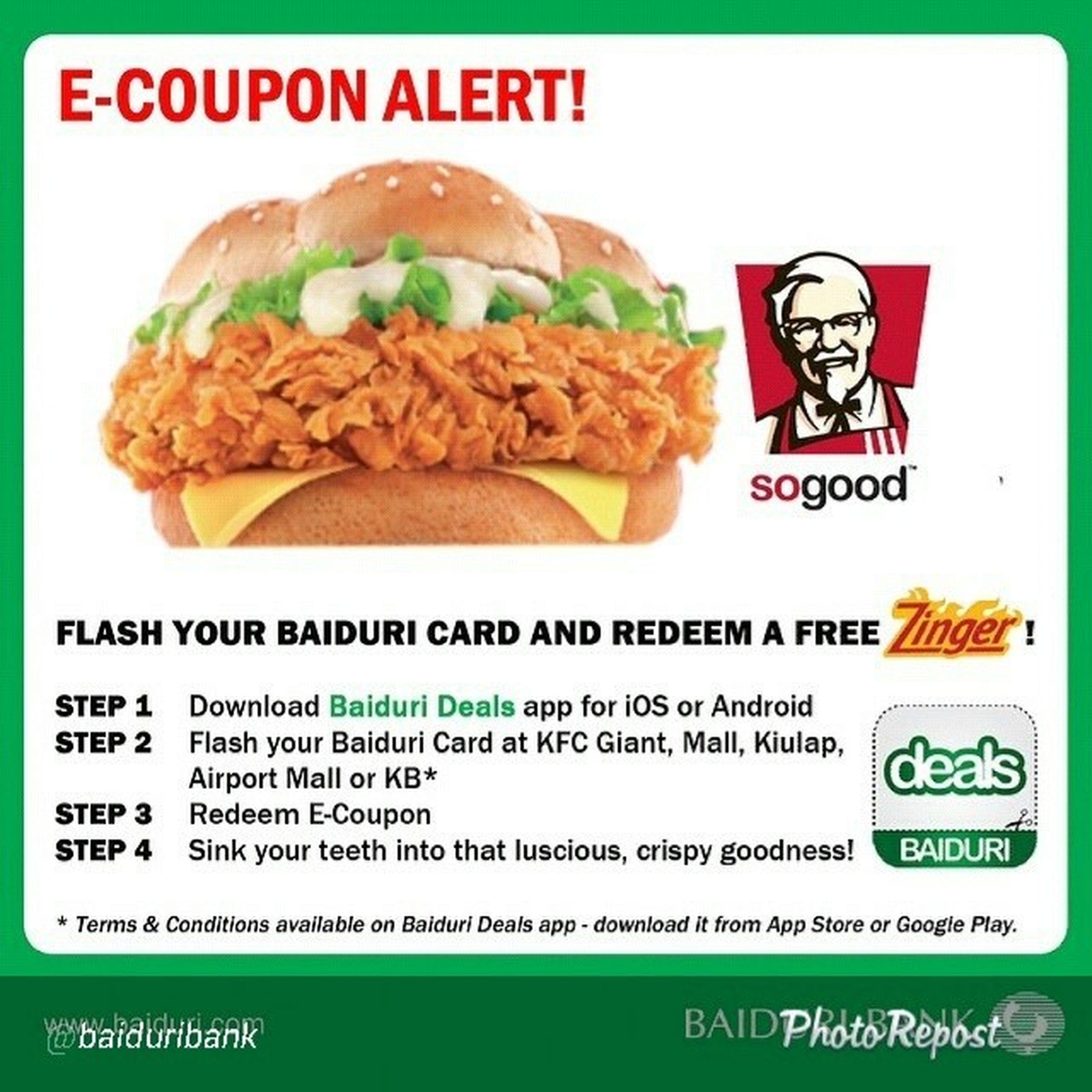 """By @baiduribank """"Get your Baiduri Debit, Credit or Prepaid Cards ready cause it's a FLASH DEAL! Starting tomorrow! Redeem a FREE ZINGER with any purchase from KFC Giant, The Mall, Airport Mall, Kiulap or KB when you FLASH your Baiduri Card!!! Baiduribank Baidurideals Baiduriecoupon """" via @PhotoRepost_app"""