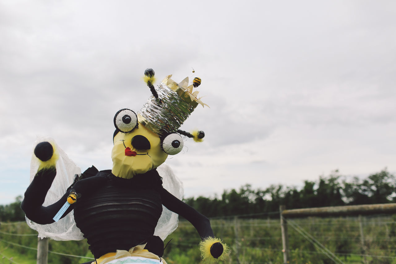 Casual Clothing Cloud - Sky Cute Day Farm Fun Leisure Activity Lifestyles Nature Orchard Outdoors Pick Your Own Fruit Portrait Scarecrow Sky Toy Yellow Art Is Everywhere