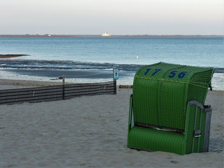 Beach Beachchair Beauty In Nature Blue Calm Nature No People Outdoors Sea Shore Sky Summer Tranquil Scene Tranquility Vacations Water