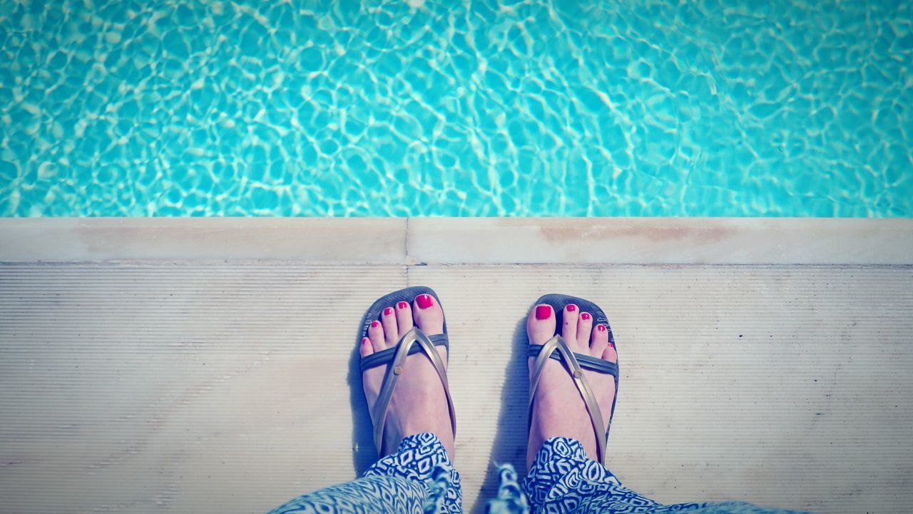 Rhodos, Greece  Rhodos Poolside Pool Swimming Pool Flipflops Feet Nailpolish Red Blue Lightblue From Where I Stand Jump In! Pants Pattern Photography Hotel