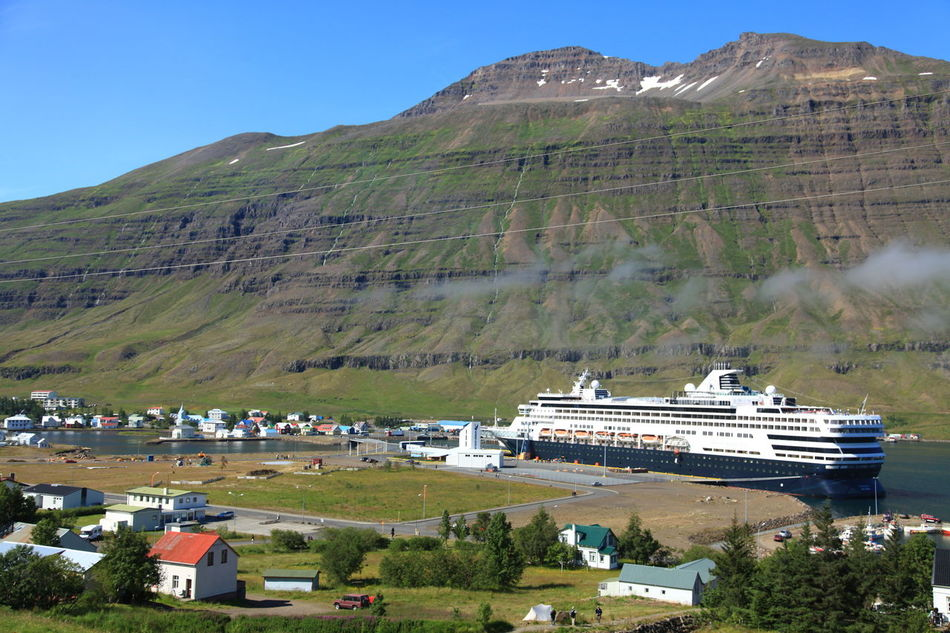Cruise ship in Seydisfjordur, Iceland Clear Sky Green Color High Angle View Iceland Landscape Majestic Monochrome Mountain Mountain Peak Nature Non-urban Scene Scenics Seyðisfjörður Town Tranquil Scene Voyage Of The Vikings