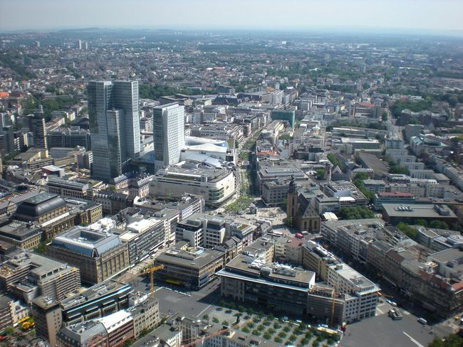 Skyline: the financial and shopping center of Germany's Frankfurt am Main, viewed from above. Aerial View Architecture Built Structure City City Center City Life Cityscape Crowded Development Financial District  Financial District  Frankfurt Am Main Growth Hauptwache High Angle View Horizon Office Building Shopping District Sky Skyline Frankfurt Skyscraper Tall - High Travel Destinations Wide Shot Zeil Frankfurt