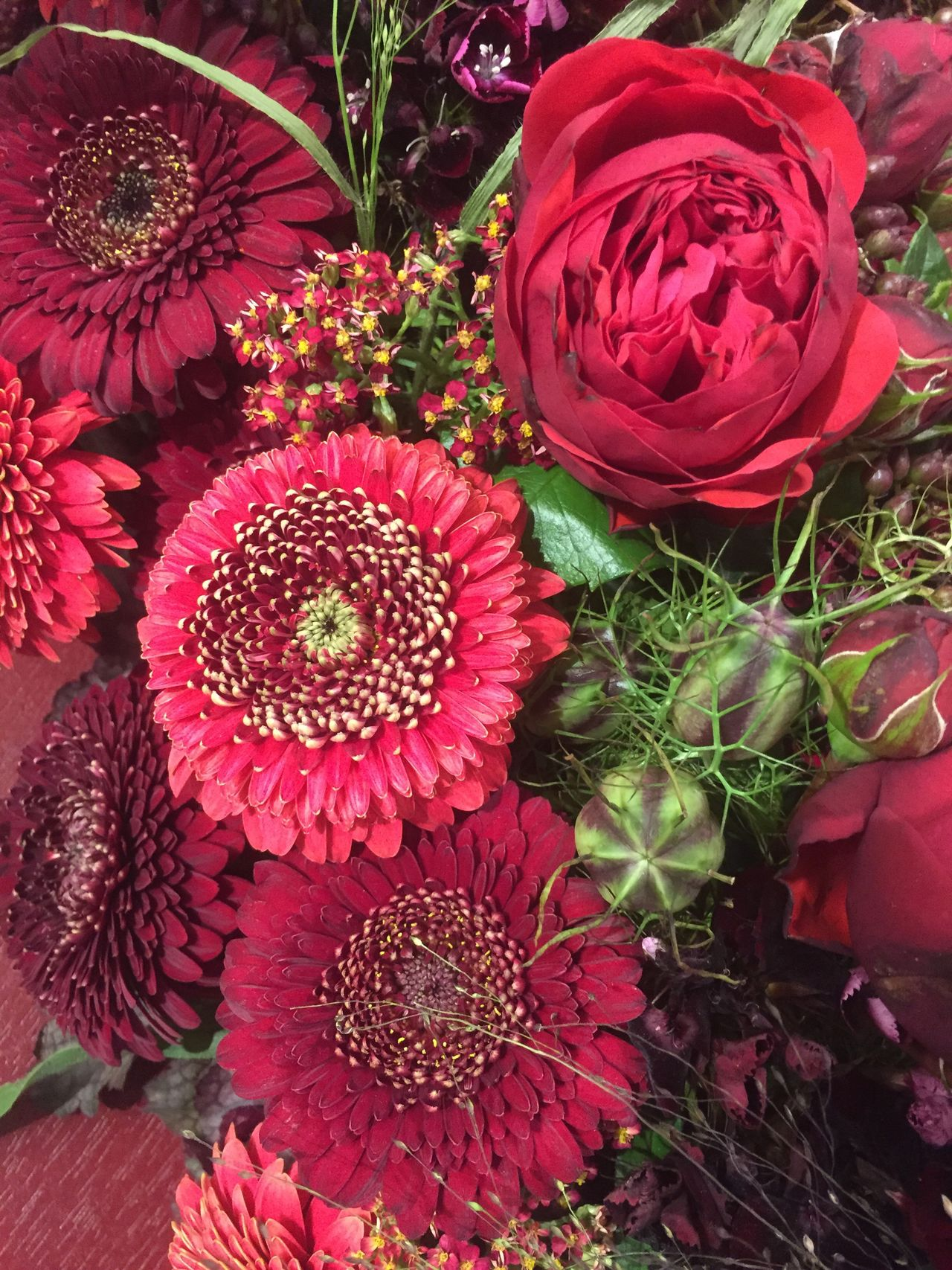 Red flower bouquet with roses Flower Growth Beauty In Nature High Angle View Nature No People Red Freshness Fragility Day Outdoors Flower Head Close-up Valentine's Day  Mother's Day Bouquet Nature Rose - Flower