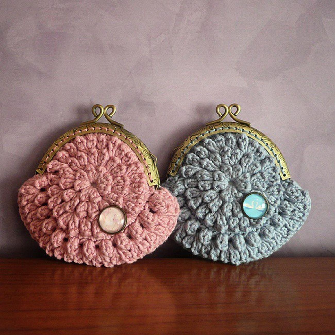 Rosa con Flamencos y Azul con Cisnes ♥ Coinpurse Handmade Handmadewithlove Senshoku Yarn Cotton Crocheting Crochet Vintage