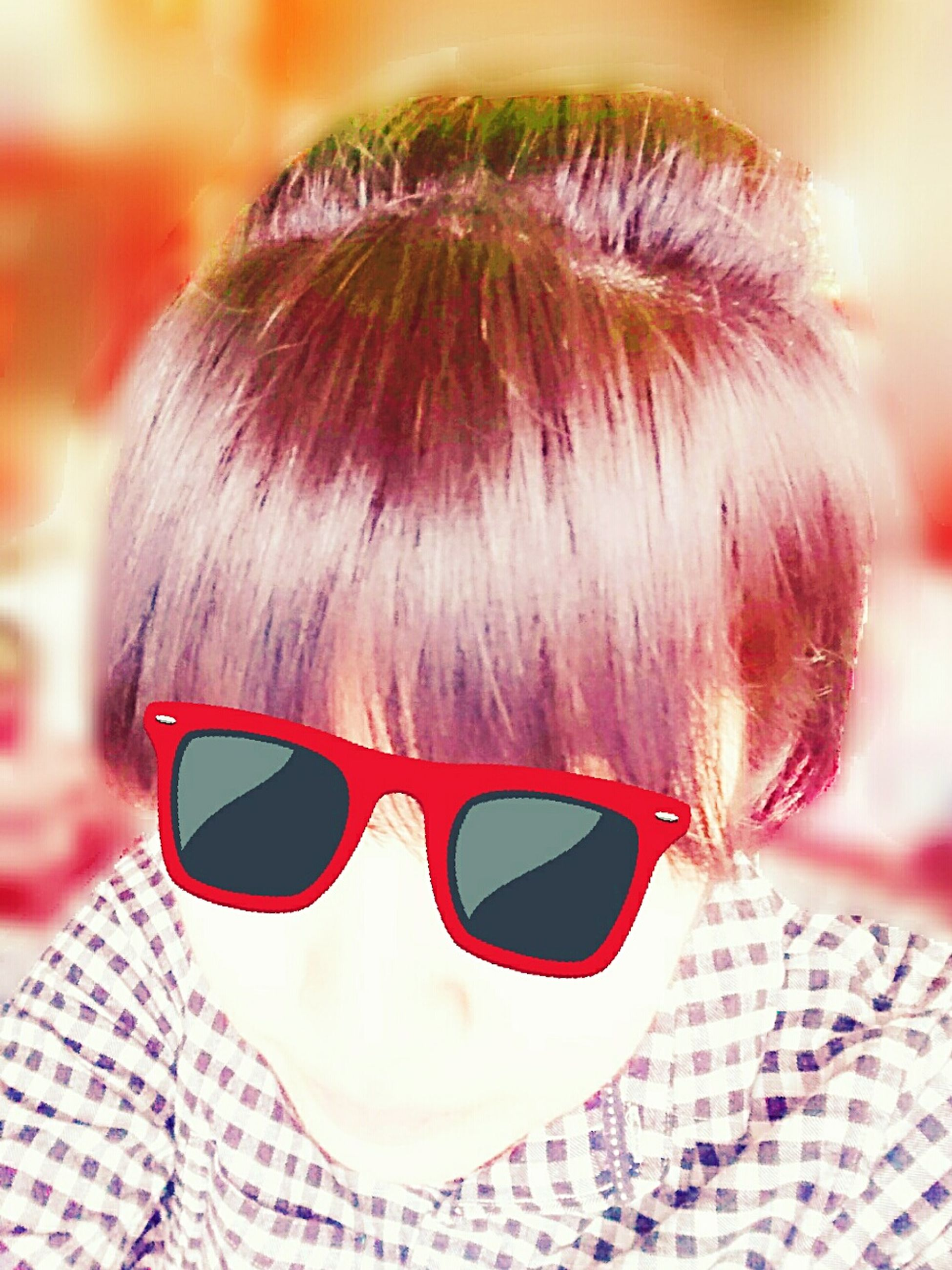 bangs, headshot, portrait, sunglasses, one person, close-up, pink color, day, outdoors, people