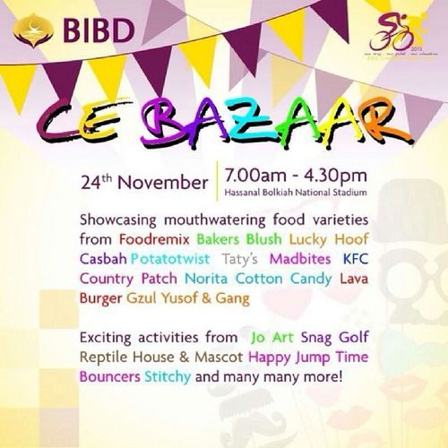 Can't make it for the CE-ALAF run? Well why not check out the CE Bazaar instead! They've got some really popular food vendors joining so don't miss it folks! Bibd Bibdcharityexpedition Bibdcealaf2013 IndaLagiLamaCE brunei WeekendAroundTheCorner