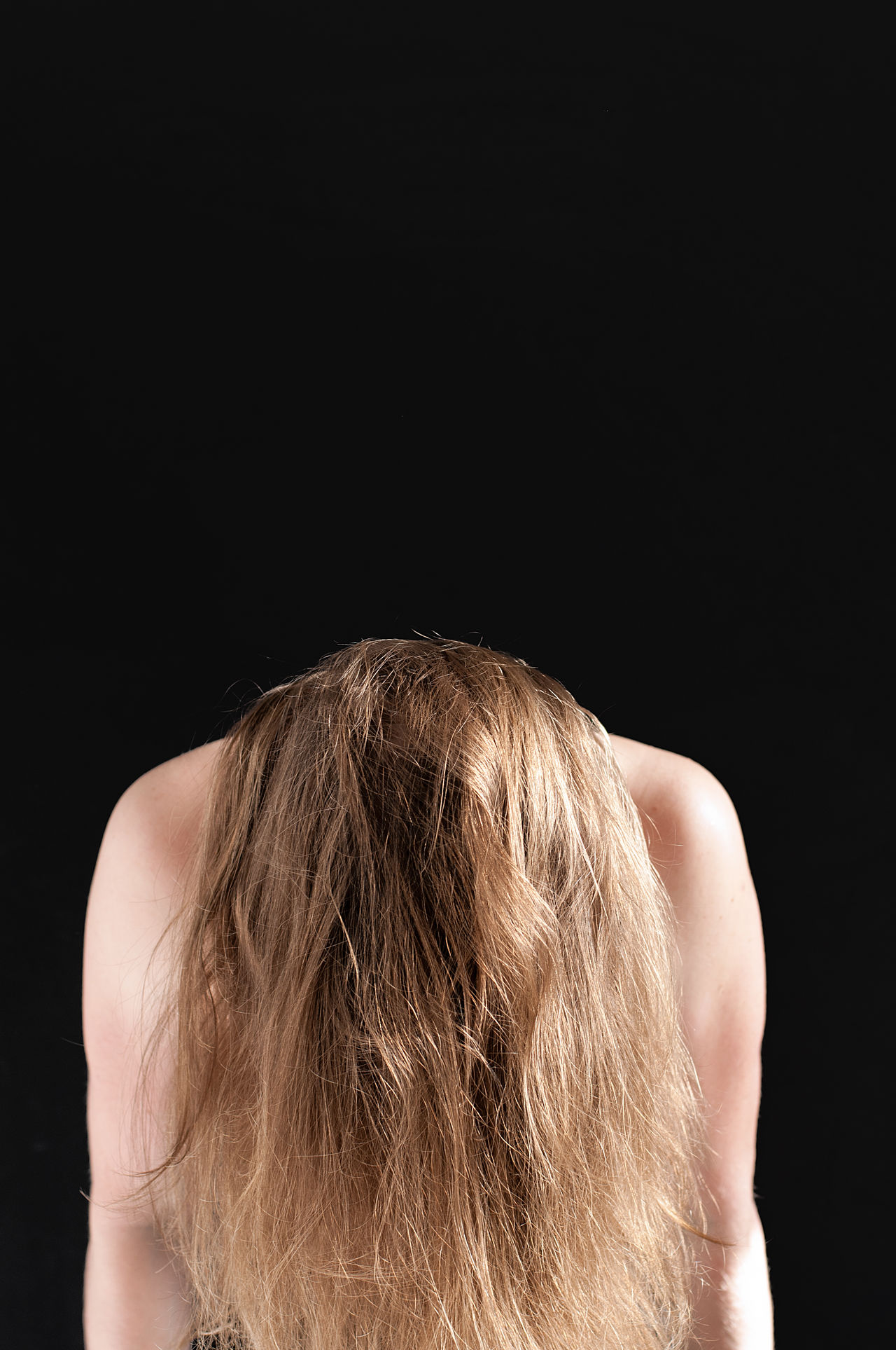 Today it feels like the weight of the world is on my shoulders. Black Background Blond Hair Day Eye4photography  EyeEm Best Shots EyeEm Gallery Human Body Part One Person People Portrait Of A Woman Shirtless Shoulders The Portraitist - 2017 EyeEm Awards Women