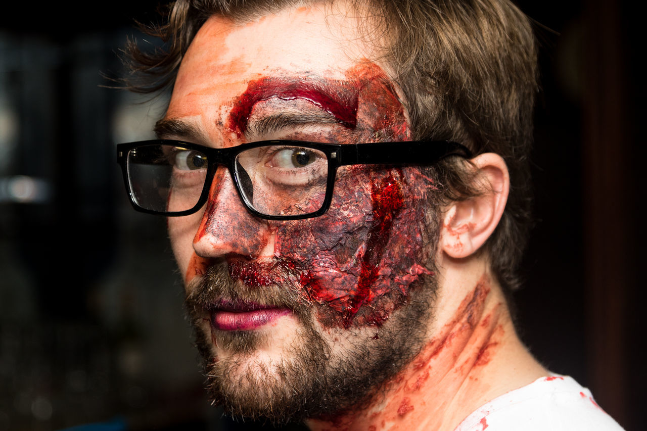 A man dressed up for Halloween Beard Blood Close-up Costume Eyeglasses  Fancy Dress Fancy Dress Competition Focus On Foreground Halloween Headshot Human Face Make Up Make Up Artistry Person Realistic Realistic Art Young Adult