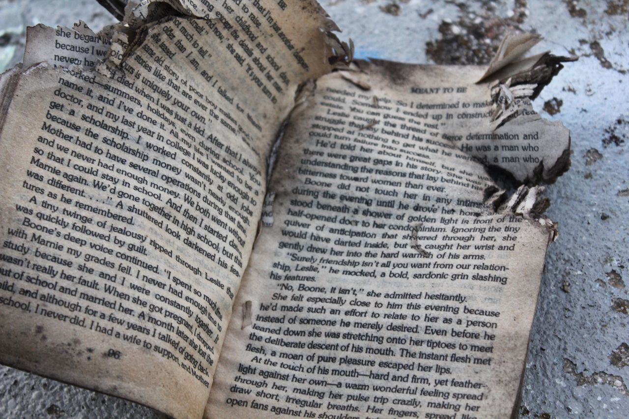 Book Books Burnt Book Close-up Damaged Day Death Of Booka Death Of Reading Deteriorated Elevated View Falling Apart Nature No People Old Book Ripped Ripped Book Ruined Book Torn Torn Book Showcase June